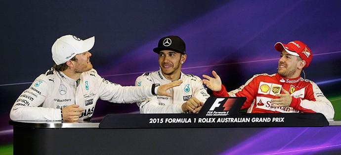 Rosberg, Hamilton e Vettel, coletiva, GP da Austrália (Foto: Reuters)