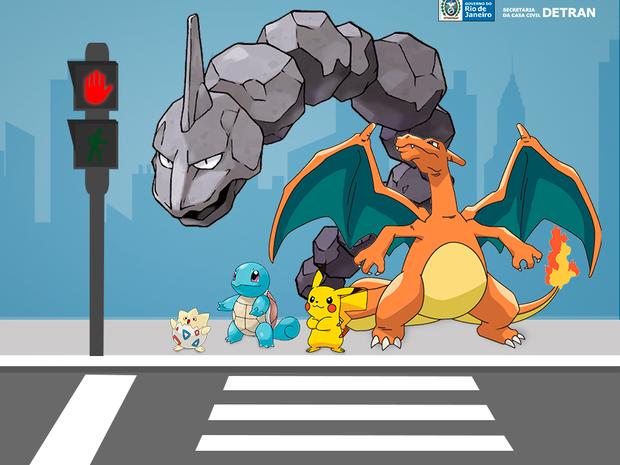 Campanha do Detran mostra Pokémons atravessando na faixa de pedestres.  (Foto: Divulgação / Detran )