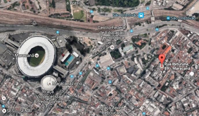 Marcada no mapa, a rua Ibituruna fica a pouco mais de 1 km do Maracanã (Foto: Google Maps)