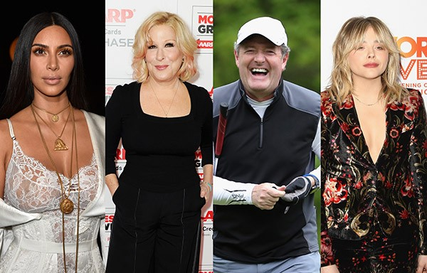 Kim Kardashian X Bette Midler, Piers Morgan e Chloë Grace Moretz (Foto: Getty Images)