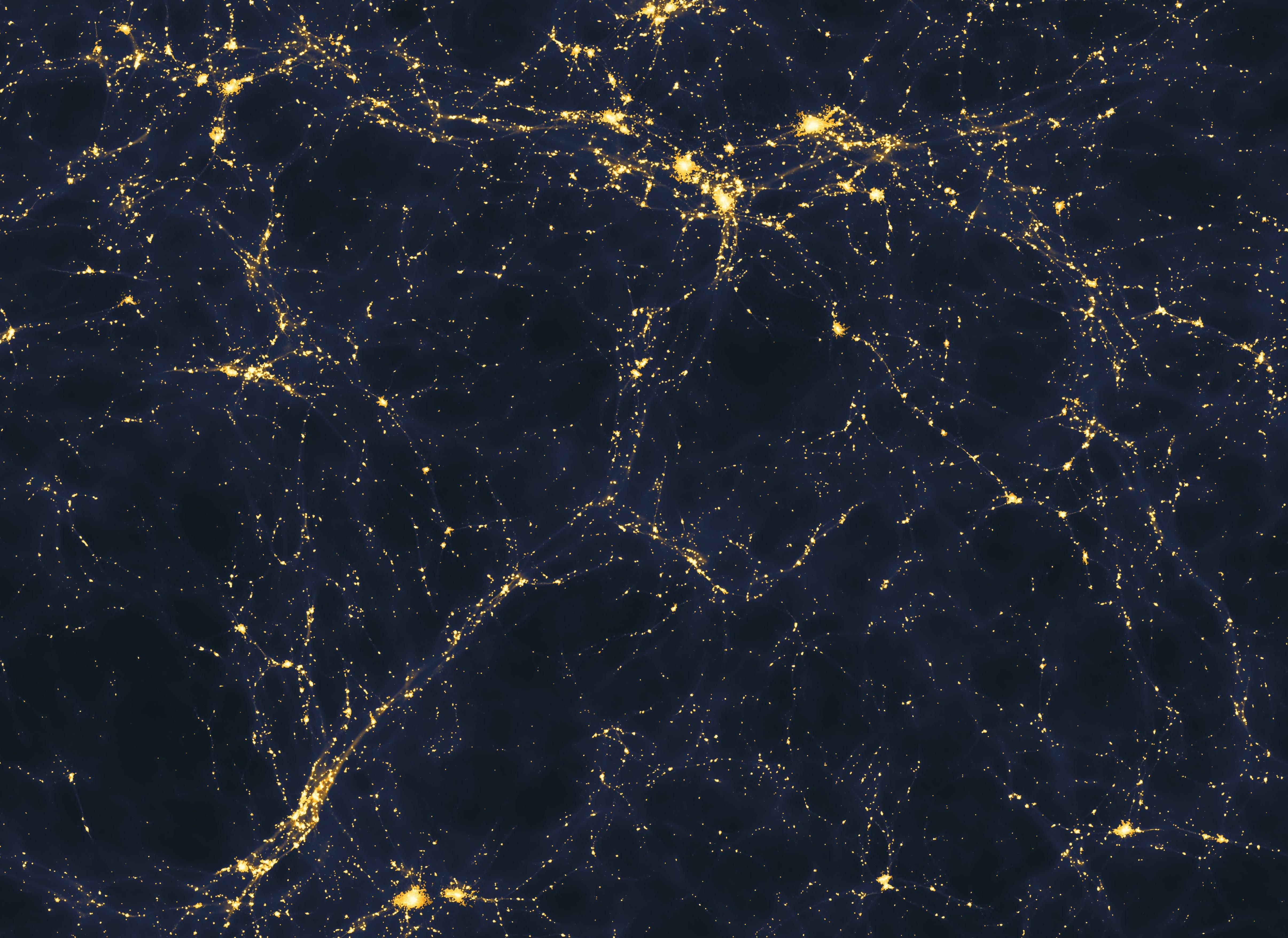 Simulação de computador mostra a distribuição das luzes em uma área de 50 milhões de anos-luz no Universo (Foto: Andrew Pontzen e Fabio Governato/Creative Commons)