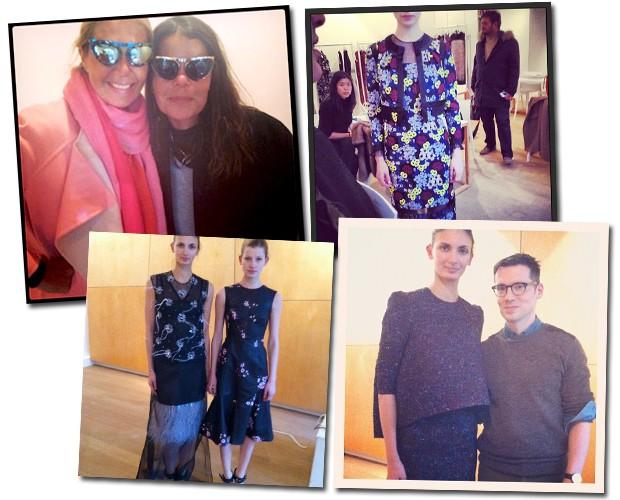 Visita ao showroom da Erdem; à esquerda, Donata e Daniela experimentam os novos óculos da parceria do estilista com Linda Farrow (Foto: Reprodução/Instagram)