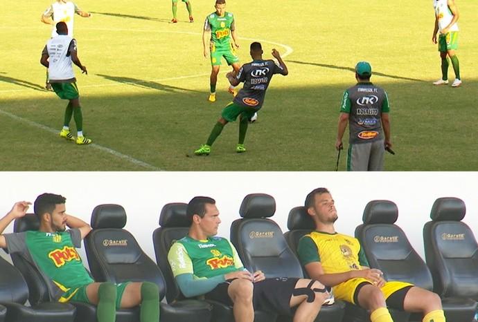 A galera do banco de reservas está sempre de olho nos lances do esporte (Foto: De Ponta a Ponta / TV TEM)