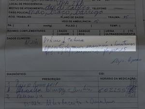 Ela foi para a UPA-24h para receber atendimentos  (Foto: Andressa Azevedo/G1)