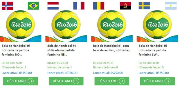 Bolas utilizadas na Olimpíada estão à venda no leilão.  (Foto: Reprodução)