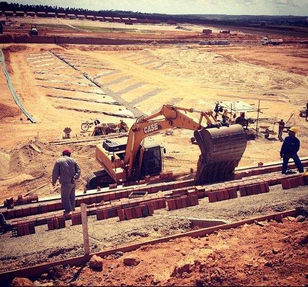 Estádio Barretão está sendo construído no município de Ceará-Mirim, na Grande Natal (Foto: Alan Oliveira/Divulgação)