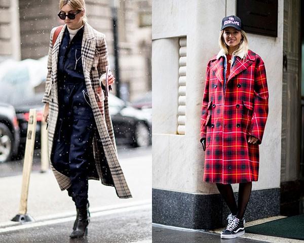 Os casacos longos foram os que mais apareceram com a estampa nas ruas (Foto: Imaxtree)