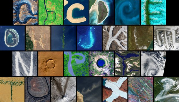 Nasa coletou e organizou uma série de imagens feitas do espaço mostrando letras do alfabeto (Foto: Observatório da Terra/Nasa via BBC)