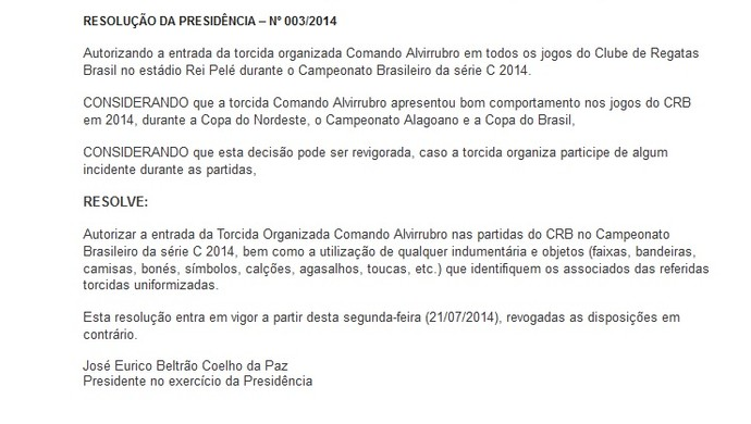 Resolução da FAF libera principal organizada do CRB (Foto: Reprodução/SiteFAF)