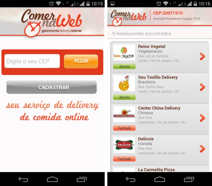 Sistema de delivery do ComerNaWeb (Foto: Reprodução/ Marcela Vaz)