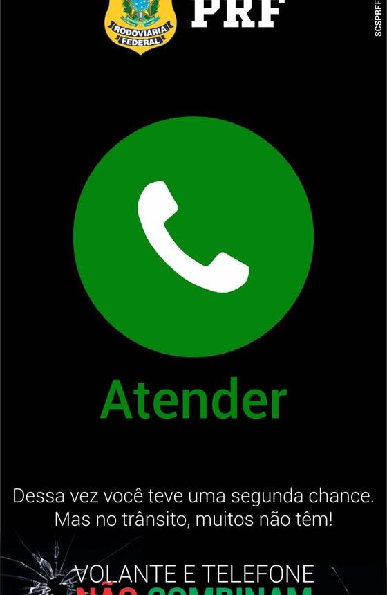 Campanha lançada no Whatsapp pela Polícia Rodoviária Federal (Foto: Reprodução )
