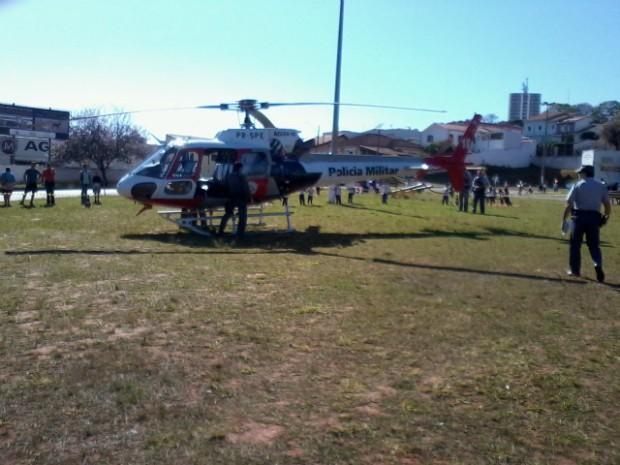 Helicóptero Águia participou da operação. (Foto: Giliardy Freitas / TV TEM)