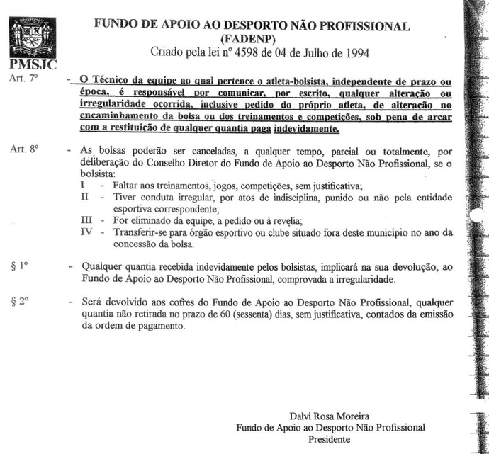 documento Fadenp Dalvi Rosa (Foto: Reprodução)
