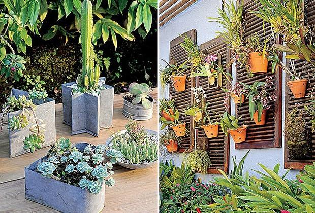 jardim vertical vasos meia lua : jardim vertical vasos meia lua: aumentar a frequência da manutenção pode inve (Foto: Casa e Jardim