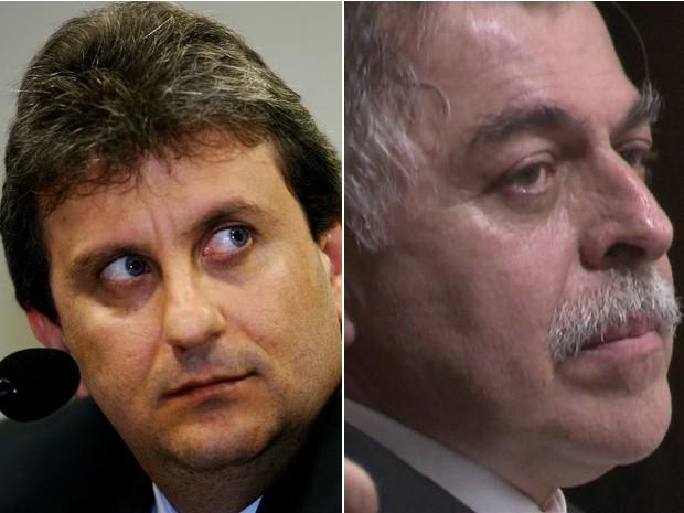 O doleiro Alberto Youssef e o ex-diretor da Petrobras Paulo Roberto Costa (Foto: Joedson Alves/Estadão Conteúdo e reprodução GloboNews)