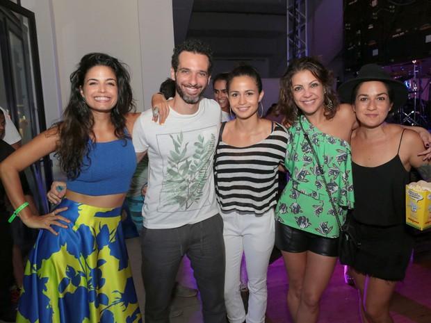 Emanuelle Araújo, Mouhamed Harfouch, Nanda Costa, Thalita Rebouças e Lan Lan em festa na Zona Sul do Rio (Foto: Reginaldo Teixeira/ Divulgação)