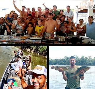 André Santos com amigos em pescaria (Foto: Reprodução / Instagram)