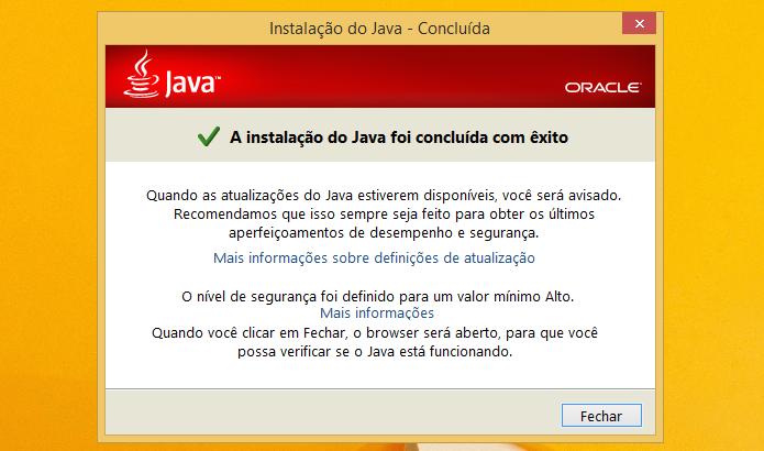 Finalizando a instalação do Java (Foto: Reprodução/Helito Bijora)