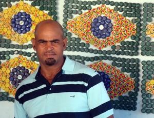 Bandeirão de tampinhas; Salvador; André Fernandes (Foto: Raphael Carneiro)