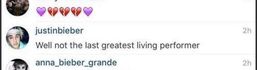 Comentário de Justin Bieber  (Foto: Instagram)