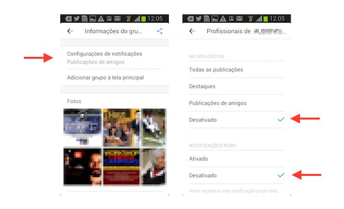 Desativando as notificações de grupo no Facebook Groups para Android (Foto: Reprodução/Marvin Costa)