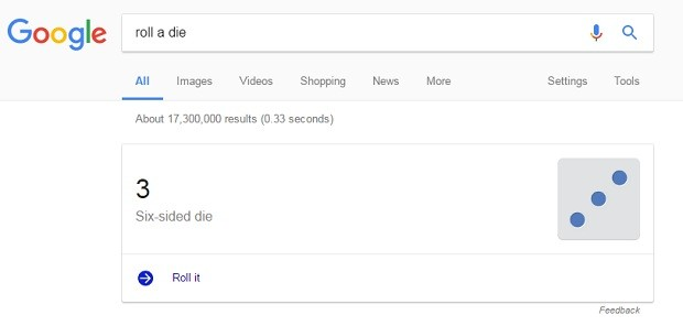 google dado roll a die (Foto: Reprodução)