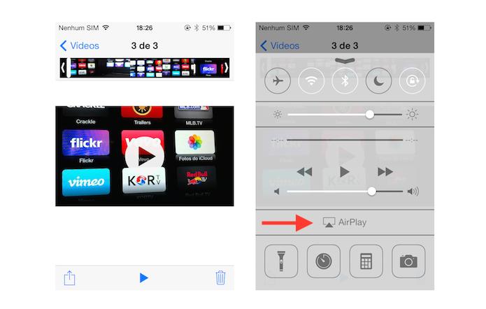 Iniciando a transmissão de um vídeo da biblioteca do iOS para a Apple TV via AirPlay (Foto: Reprodução/Marvin Costa)