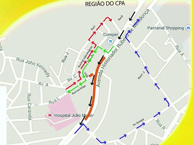 Trecho marcado em laranja estará bloqueado a partir desta quinta-feira no sentido Centro/CPA. (Foto: Divulgação/Secopa)
