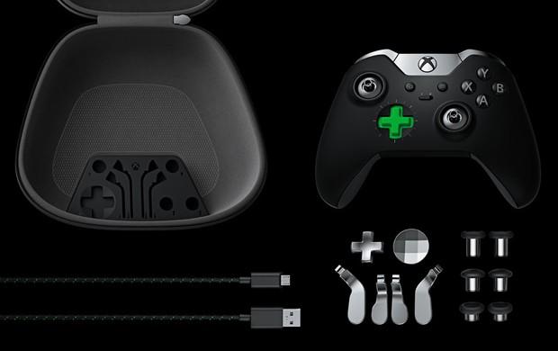Xbox Elite vem com três pares de alavancas, duas opções de direcional digital e quatro botões borboleta, para serem encaixados na parte de trás do controle (Foto: Divulgação/Microsoft)