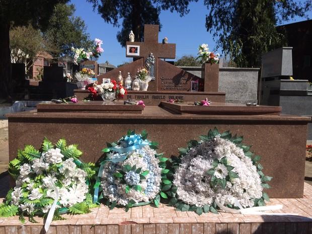 Flores e fotos de Bernardo são deixados na lápide do menino (Foto: Caetanno Freitas/G1)