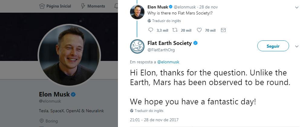 Reprodução do diálogo entre Musk e terraplanistas (Foto: Reprodução/Twitter)