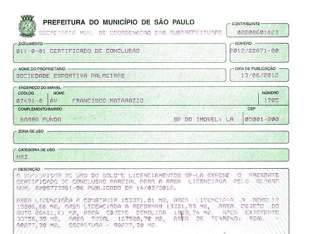 Documento da Arena Palestra (Foto: Reprodução)