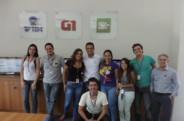 Em visita à TV TEM, Falcão também passou pela redação do G1 e Globoesporte.com (Foto: Emilio Botta/GloboEsporte.com)