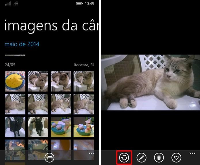 Windows Phone traz botão para compartilhar fotos ou vídeos nas redes sociais de maneira rápida (Foto: Reprodução/Elson de Souza)
