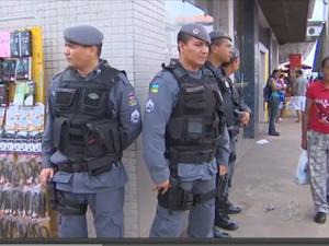 PM reforça policiamento no centro comercial de Macapá (Foto: Reprodução/TV Amapá)