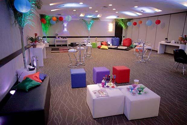 Lounge da seletiva em Cuiabá bem decorado e com muito espaço  (Foto: Gshow)