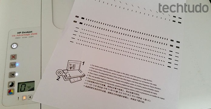 Página de teste será impressa para alinhamento do dispositivo  (Foto: Barbara Mannara/TechTudo)