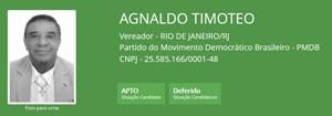 Ficha de Agnaldo Timóteo no TSE (Foto: Reprodução/TSE)