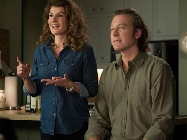 Nia Vardalos e John Corbett em 'Casamento grego 2' (Foto: Divulgação)