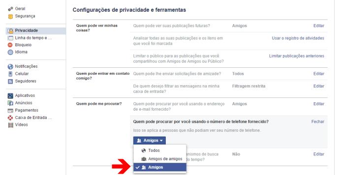 Configurando a privacidade do seu número de celular no Facebook (Foto: Reprodução/Lívia Dâmaso)