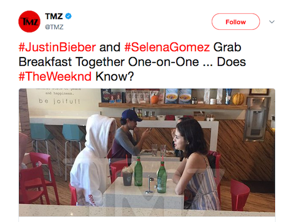 O flagrante do encontro de Justin Biber e Selena Gomez (Foto: Twitter)