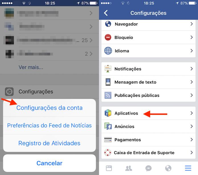 Caminho até as configurações de aplicativos do Facebook para iPhone (Foto: Reprodução/Marvin Costa) (Foto: Caminho até as configurações de aplicativos do Facebook para iPhone (Foto: Reprodução/Marvin Costa))