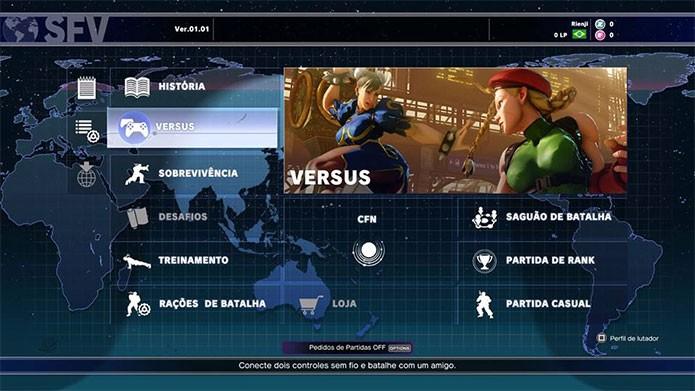 Modo versus de Street Fighter 5 é focado em batalhas de jogadores (Foto: Reprodução/Felipe Vinha)