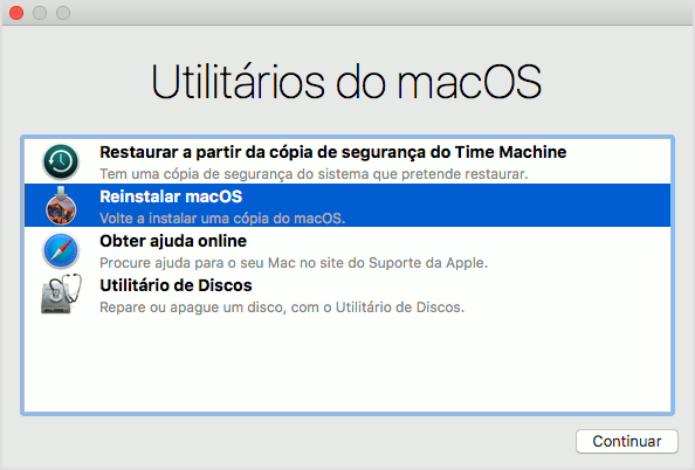 Selecionando a opção Reinstalar macOS no modo de recuperação do Mac (Foto: Reprodução/Edivaldo Brito)
