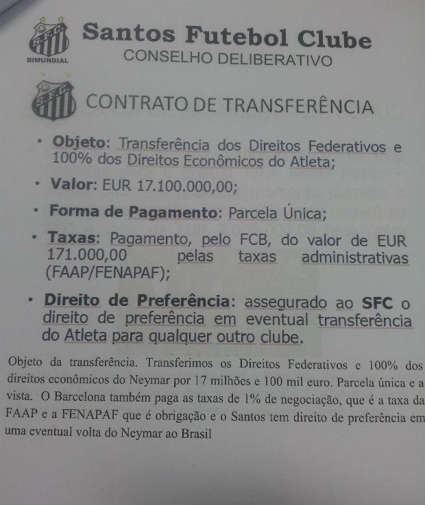 Documento da transferência de Neymar (Foto: Reprodução / Rádio Globo)