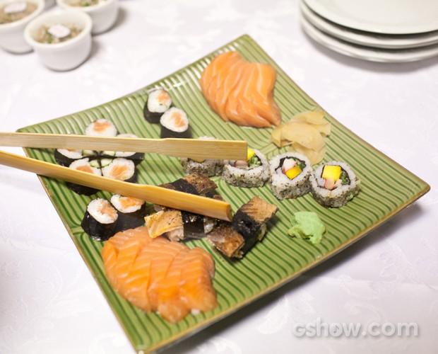 comida japonesa bastidores SuperStar Top 8 (Foto: Dafne Bastos/TV Globo)