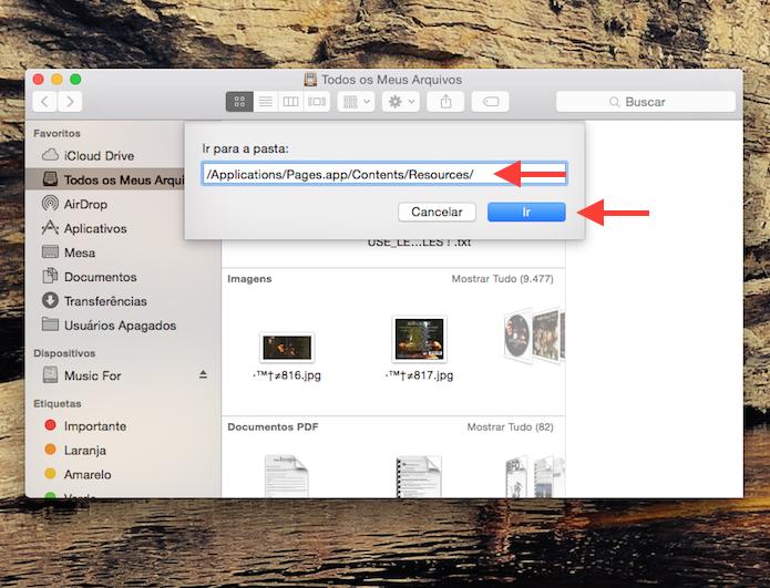 Acessando a pasta Resources do Pages no Mac OS X para abrir o arquivo do discurso de Steve Jobs (Foto: Reprodução/Marvin Costa)
