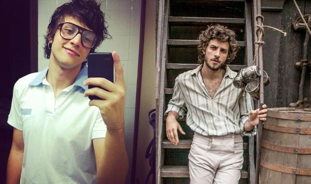 Chay Suede no início da carreira e na novela Novo Mundo (Foto: Reprodução/Instagram e Globo)