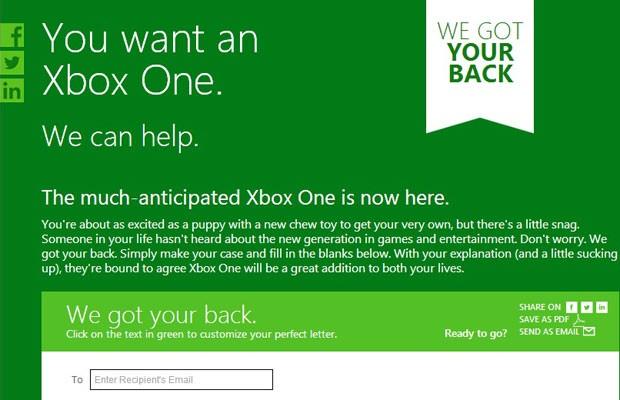 Microsoft cria modelo de carta para que jogadores convençam seus parceiros de que comprar o Xbox One é uma boa opção. (Foto: Reprodução/Microsoft)