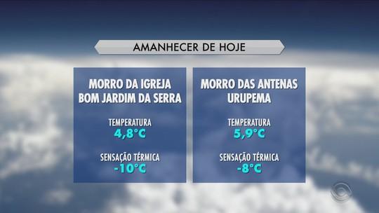 Bom Jardim da Serra registra sensação de -10°C neste sábado
